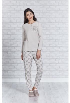 RolyPoly Uzun Kollu Kadın Pijama Takımı Bisküvi