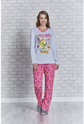 Looney Tunes Tweety Lisanslı Bayan Pijama Takımı L9426