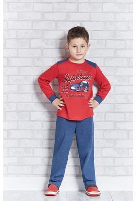 RolyPoly Uzun Kollu Erkek Çocuk Pijama Takımı Kırmızı