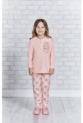 RolyPoly Uzun Kollu Genç Kız Pijama Takımı Şeftali