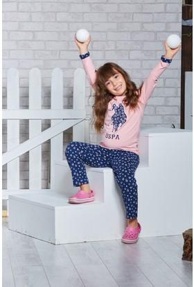 Us Polo Assn Lisanslı Kız Çocuk Pijama Takımı Açık Pembe