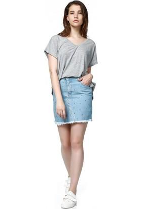 Bsl Fashion Mavi Jean Etek 9359
