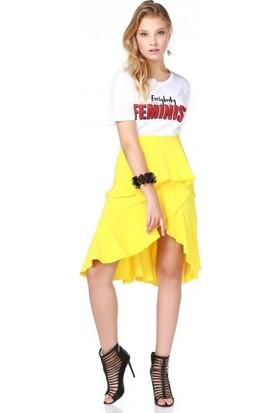 Bsl Fashion Sarı Etek 9491