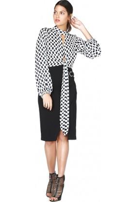 Bsl Fashion Siyah Beyaz Puantiyeli Bağlamalı Bluz 9532