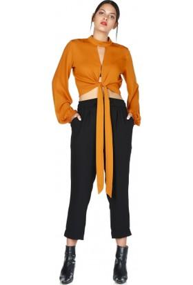 Bsl Fashion Hardal Puantiyeli Bağlamalı Bluz 9532 1