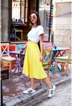 Bsl Fashion Sarı Etek 9492