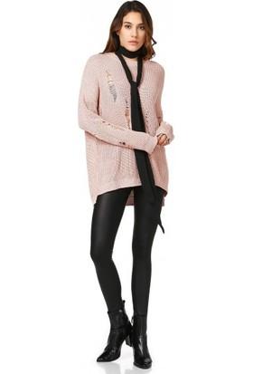 Bsl Fashion Açık Pembe Triko Kazak 10623