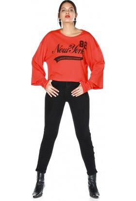 Bsl Fashion New York Yazılı Sweatshirt 9543