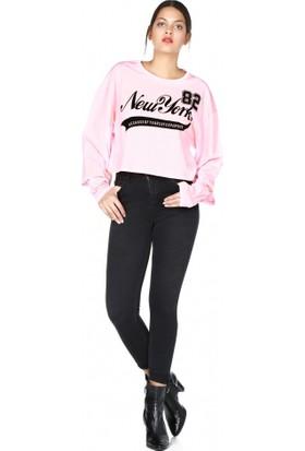 Bsl Fashion New York Yazılı Sweatshirt Pembe 9543