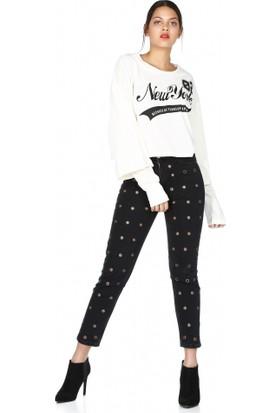 Bsl Fashion New York Yazılı Sweatshirt Ekru 9543