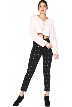 Bsl Fashion V Yaka Önden Düğmeli Beli Lastikli Bluz 9542
