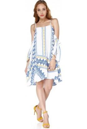 Bsl Fashion Beyaz Elbise 9474