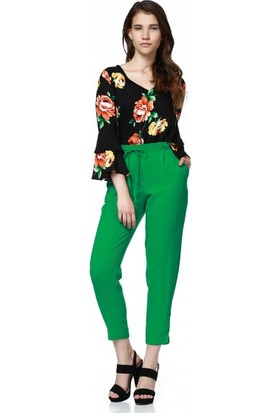 Bsl Fashion Yeşil Pantolon 9396