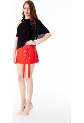 Bsl Fashion Kırmızı Şort Etek 9438