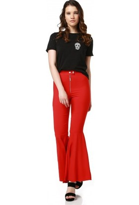 Bsl Fashion Kırmızı Pantolon 9330