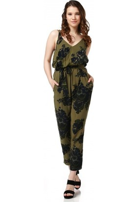 Bsl Fashion Haki Siyah Tulum Elbise 9146