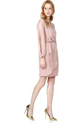 Bsl Fashion Pudra Elbise 9575