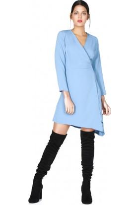Bsl Fashion Çapraz Kuşaklı Mavi Elbise 9595