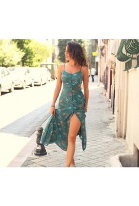 Bsl Fashion Yeşil Elbise 9478