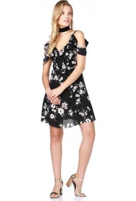 Bsl Fashion Siyah Ekru Elbise 9468