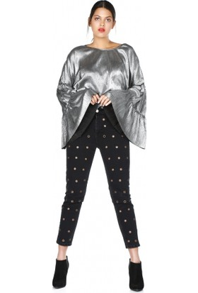 Bsl Fashion İspanyol Kol Gümüş Bluz 9562