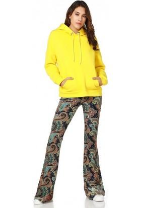 Bsl Fashion Çiçekli Pantolon 9536