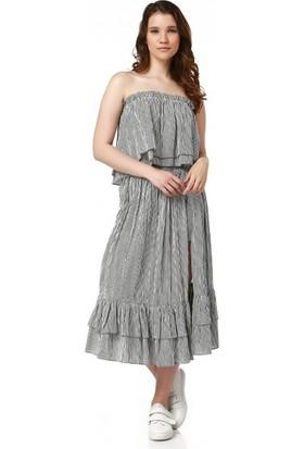 Bsl Fashion Çizgili Bluz 9372