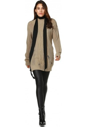 Bsl Fashion Açık Kahve Triko Kazak 10631