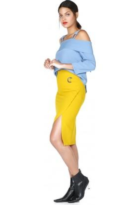 Bsl Fashion Yırtmaçlı Sarı Etek 9576