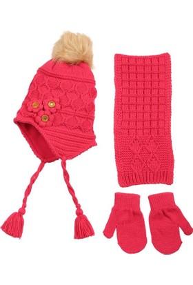 Kitti Kız Çocuk Atkı, Bere, Eldiven Takımı Candy 1 - 4 Yaş Fuji K7920