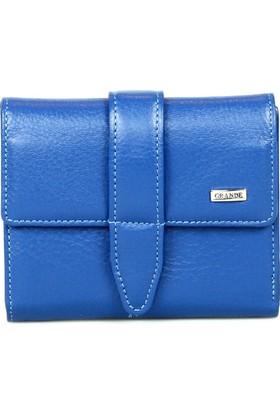 Grande 02633 Hakiki Deri Bayan Cüzdanı Mavi