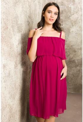 Gör&Sin Casual Hamile Askılı Şifon Elbise Violet
