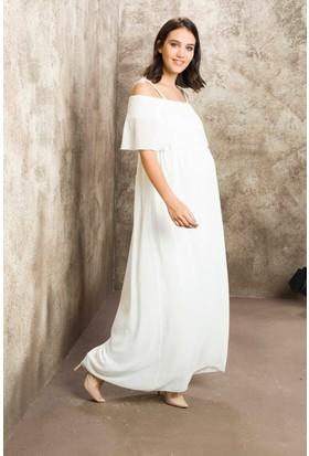 Gör&Sin Casual Hamile Askılı Şifon Uzun Elbise Beyaz
