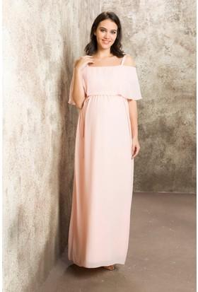 Gör&Sin Casual Hamile Askılı Şifon Uzun Elbise Pudra