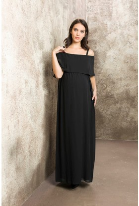 Gör&Sin Casual Hamile Askılı Şifon Uzun Elbise Siyah