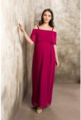Gör&Sin Casual Hamile Askılı Şifon Uzun Elbise Violet