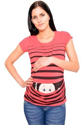 Görsin Pencereden Bakan Bebek Baskılı Hamile Tshirt Mercan