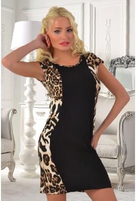 Miss Liska Yarım Kol Leopar Desenli Elbise 1132