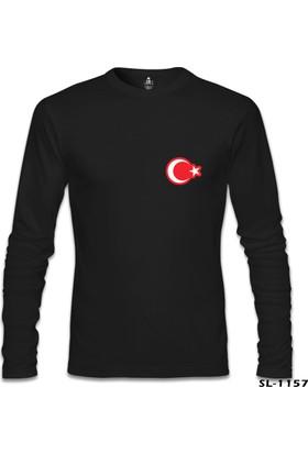 Lord T-Shirt Ay Yıldız - Göğüs Logo Siyah Erkek Sweatshirt