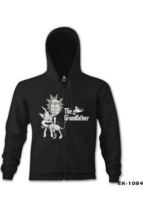 Lord T-Shirt Rick and Morty - The Grandfather Siyah Erkek Kapüşonlu Sweatshirt