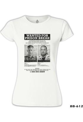 Lord T-Shirt Prison Break - Wanted For Beyaz Kadın T-Shirt