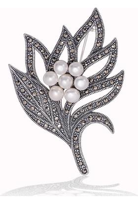Gumush Gümüş Markazit Taşlı Yaprak İnci Broş