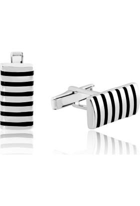 Gumush Gümüş Çizgili Klasik Kol Düğmesi