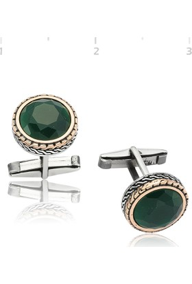 Gumush Gümüş Yeşil Zirkon Taşlı Yuvarlak Kol Düğmesi