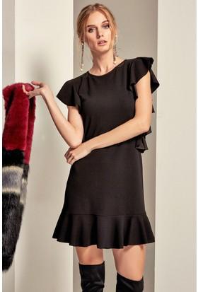 Lafaba Kolları Ve Eteği Volanlı Elbise
