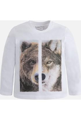 Mayoral Erkek Çocuk Uzun Kol T-Shirt Kurt Figürlü Krem