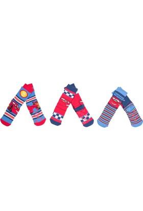 Cars CR9759 Çocuk 3'lü Havlu Soket Çorap