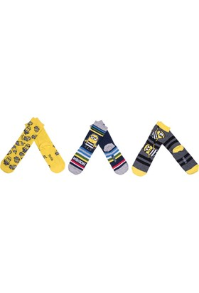 Minions MS12393 Çocuk 3'lü Soket Çorap