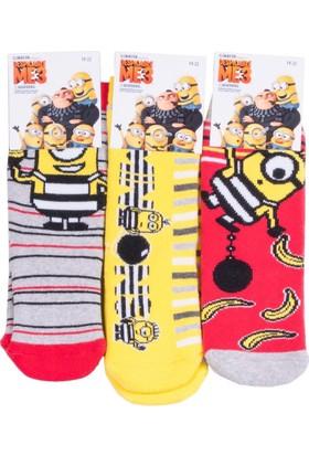 Minions MS12416 Çocuk 3'lü Havlu Soket Çorap