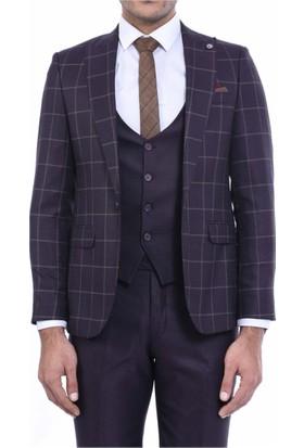 Wessi Ceket Ekose Yelek Pantolon Düz Yelekli Takım Elbise